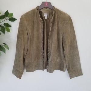 Chicos Olive Green Suede Jacket Size 1 Medium